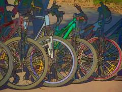 Bicycles (Viacheslav Pylypenko) Tags: bike sports traffic city parking citylife skate rideabicycle wheel healthylifestyle outdoors travel pedal steeringwheel artist tire bright illustration largegroupofobjects