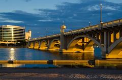 Golden Mill Ave Bridge (Arizphotodude) Tags: sunset arizona lake water dusk goldenhour tempe tempetownlake millave