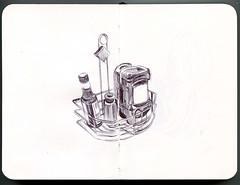 table at Etai's (paul heaston) Tags: art illustration notebook sketch artwork drawing journal sketchbook