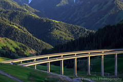 Guozigou Bridge, Xinjiang China (Feng Wei Photography) Tags: china travel bridge mountain color tourism beautiful horizontal architecture cn landscape highway scenery asia view traffic outdoor tian scenic journey vista xinjiang shan majestic span connection connect yili tianshan guozigou