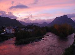 Tarascon-sur-Ariege (Niall Corbet) Tags: pink sunset sky cloud france river dusk explore roussillon ariege languedoc tarasconsurariege