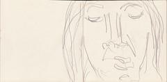 Whrend sie die Augen schloss strmten tausend Gedanken durch ihren Kopf. Mindestens einer betraf die Zukunft, ein anderer zu erledigende Ttigkeiten im Haushalt (raumoberbayern) Tags: summer bus pencil subway munich mnchen sketch drawing sommer tram sketchbook heat ubahn draw bleistift robbbilder skizzenbuch zeichung