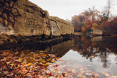 Broken Dam (Dalliance with Light (Andy Farmer)) Tags: park autumn lake fall water leaves fog landscape us newjersey pond unitedstates nj brunswick east bicentennial bicentennialpark milltown farringtonlake eastbrunswick farrington