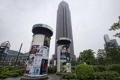 Messeturm (Jan Kranendonk) Tags: building tower architecture modern germany advertising deutschland frankfurt german highrise column messe deutsch messeturm