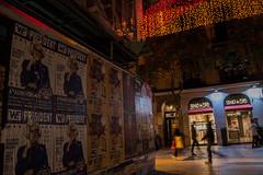Calle Fuencarral. Dec2015 (PabloCano) Tags: madrid christmas street espaa night advertising poster lights navidad noche calle flyer spain december publicidad goa malasaa diciembre fuencarral weparty