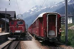 Furka Oberalp HGe 4/4 37 in Sedrun, 22.06.1974 (Tramfan2011) Tags: schweiz swiss berge fo mgb oberalp furka zahnradbahn furkaoberalp