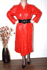 red pvc mac (sheerglamour) Tags: leather fetish dress heels satin pvc wiggle nylons hobble glamoursheerglamour