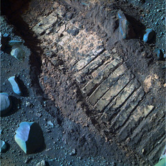 Tracking Opportunity (sjrankin) Tags: 26december2016 edited nasa mars opportunity endeavourcrater colorized rgb track wheeltrack treads treadmarks rocks