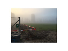 Aarhus, Denmark (December 2016) (csinnbeck) Tags: fog mist foggy misty denmark dk aarhus iphone morning december 2016 sign fence building site trees