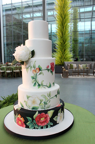 Painted Florals MFA Wedding Cake