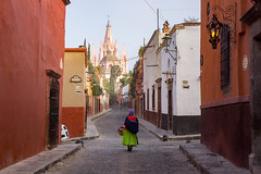 San Miguel, Mexico (Kathy~) Tags: 2017 mexico sanmiguel behind hp street lady church friendlychallenges challengeyouwinner fotocompetition fotocompetitionbronze 15challengeswinner instagram