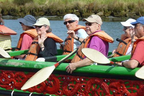 Paddling a Maori War Canoe (Waka) New Zealand