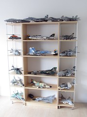 Aircraft shelves February 2017 (Mad physicist) Tags: lego shelves aircraft helicopters models