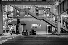 Kinzie Chophouse (cwaersten) Tags: kinzie chophouse restaurant chicago underpass stair stairs building mailbox road blackandwhite bw nikon d610 brick brickwall pavement street light no nopeople 1024 elevated railroad thel train ltrain facade daytime daylight fav10