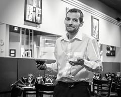 cocktails, anyone? (-liyen-) Tags: drink male man waiter server restaurant bw blackandwhite fujixt1 martinis matchpointwinner mpt537
