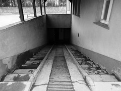 Entrance to the Pathology/Mortuary (Miranda Ruiter) Tags: berlin concentrationcamp warmemorial warvictims wo2 photography blackandwhite oranienburg pathology staircase sachsenhausen entrance