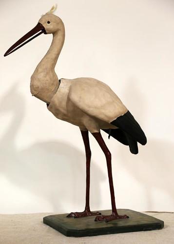 Paper Mache Store Clock Work Display Stork Figure ($1,064.00)