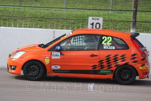 Elliot Wilson in  Race 1 at the BRSCC Fiesta Junior Championship, Rockingham, Sept 2015