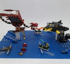 Battle Of The Blue Delta (bloody version, other view) (Hendri Kamaluddin) Tags: monster dragon lego fantasy bloody squadron moc fighterplane skyfi fantasycreature fantasyplane fantasybattle victorysquadron