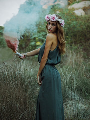 Ready to Burn (Emanuele Di Maria) Tags: flowers woman surrealism smoke fineart surreal fumo survivals coronadifiori vscofilm