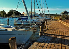 heaven can wait (claudia.kiel) Tags: sailboat pier harbour jetty olympus insel rgen hafen segelboot seedorf omdem10