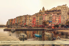 Autumn in Portovenere (in eva vae) Tags: autumn sea italy panorama seascape art colors photoshop boats bay dock italian eva mare liguria acqua portovenere hdr lightroom laspezia inevavae