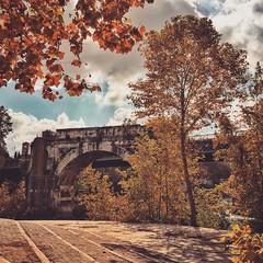 Ponte dal'Isola Tiberina (RaffaLUCE) Tags: autumn italy rome roma fall italia trastevere tiber tevere lazio isola iphone tiberisland isolatiberina tiberina iphoneography iphone6 instagram snapseed