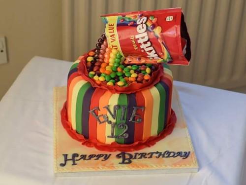 Phenomenal Skittles Anti Gravity Cake A Photo On Flickriver Birthday Cards Printable Benkemecafe Filternl