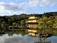 The Golden Pavilion, Kyoto (Jez B) Tags: blue sky sun holiday reflection tree water beautiful sunshine japan gold kyoto pavilion 2015 golen