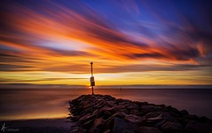WHIZZING PAST (Vaughan Laws Photography   www.lawsphotography.com) Tags: longexposure sunset sky seascape color beach water beautiful skyline canon landscape rocks colorful melbourne ndfilter neutraldensityfilter cloudstreaks longshutterexposure longexposuresunset canon6d longexposurecolour nd10stop melbournelongexposure lawsphotography vaughanlaws