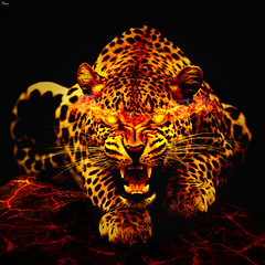 Leopard from hell (reXraXon) Tags: art cat photomanipulation photoshop fire graphicdesign artwork smoke digitalart manipulation flame leopard fireart raxon photoshopcs6