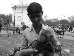Making friendz (Rajib Singha) Tags: street travel portrait people india animal interestingness bond kolkata westbengal flickriver canonpowershots90 saheedminarground