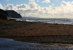 Charmouth Beach (janroles) Tags: sea seascape beach people flickr canoneos400d dorset waves scenic clouds sky england water ocean shore landscape coast seaside autumn october