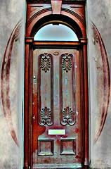 Come in! (innpictime ζ♠♠ρﭐḉ†ﭐᶬ₹ Ȝ͏۞°ʖ) Tags: frontdoor door 28 hamiltonstreet birkenhead ch411al 533942613014336 retinex selectivelens texture clouds brown old ornate imposing lock gradeii