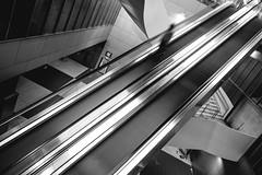 Tapis roulants (Eero Capita) Tags: black white nikon d7100 dx sigma 1020 bruxelles brussels brussel rogier métro stairway escalator