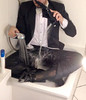 white-tie-shower-1_10300236576_o (shinydressshoes) Tags: tails tailcoat tuxedo suit muddy gunge wet shiny shoes shinyshoes leather patent dressshoes groom wedding whitetie frack formal shower lackschuhe lackschuh