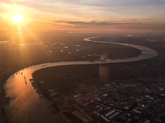 Aerial Shot above New Orleans - Louisiana (ChrisGoldNY) Tags: chrisgoldny chrisgoldphoto chrisgoldberg licensing forsale albumcover bookcover albumcovers bookcovers neworleans louisiana nola thesouth america usa river winding sunset aerial water reflection iphone