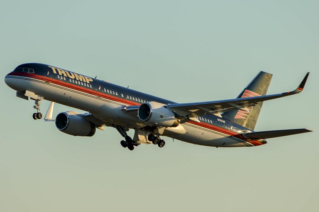 ... corporate trump donald air airplane airport rdu krdu n757af sunset