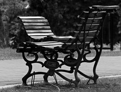 waiting, leaving, finding (♥ expressing emotions ♥) Tags: bw monocromatico monochrome park plaza parque lezama outdoor bancos bench pinnaclephotography
