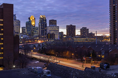 Twilight in Northeast (Sam Wagner Photography) Tags: minneapolis minnesota twin cities dramatic colorful winter sunset twilight clouds cityscape skyline traffic 3rd ave central bridge downtown dusk long exposure medium compression metropolis overlook blue hour