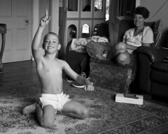 Lounge Gymnastics 02 (C & R Driver-Burgess) Tags: boys girl shaved forehead blonde curly hair young small headstand spider walkover monochrome playing kids children