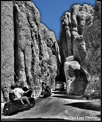 Aug 5 2012 - Single file along Needles Highway in SD (La_Z_Photog) Tags: lazy photog elliott photography sturgis south dakota black hills needles highway motorcycles rally bikes babes beer party selective color