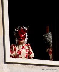 IMG_1510 Venice (marinbiker 1961) Tags: venice carnivaldivenezia2017 italy 2017 candid woman outdoors sunny window red reflection