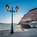 View from Athinions port in beautifull Santorini-Thira