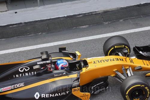 Jolyon Palmer in his Renault in Formula One Winter Testing 2017