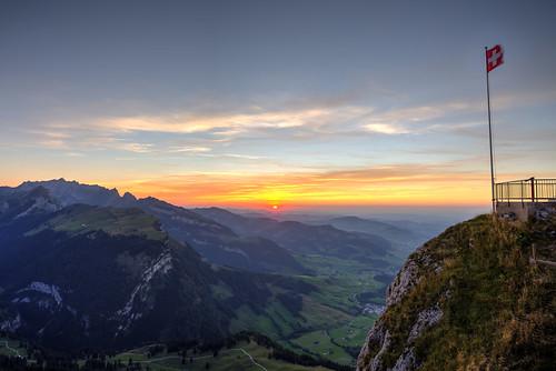 Sunset seen from a mountain peak