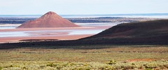 island Lagoon on the way to woomera (pbennett64) Tags: water grass clouds sand hill shade bushes
