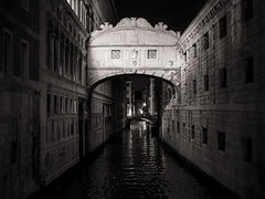 venice-10-051015 (Snowpetrel Photography) Tags: nightphotography travel venice blackandwhite italy sculpture art monochrome architecture night bridges canals monuments venezia palaces portals waterways veneto venetianarchitecture olympusm25mmf18 olympusem5markii