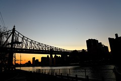 Queensboro Silhouette (grumpyff) Tags: city nyc newyorkcity sunset sky urban ny newyork skyline twilight dusk eastriver queensborobridge rooseveltisland cityofnewyork blackwellsisland welfareisland 59streetbridge