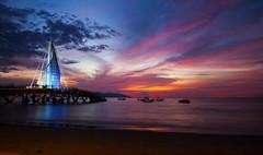 Los Muertos Pier (Bob McCuaig Photography) Tags: longexposure travel beach colors canon landscape mexico evening pier jalisco puertovallarta beachsunset watercape